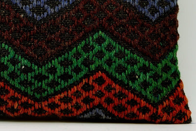 CLEARANCE 12x24 Vintage Hand Woven Kilim Pillow Lumbar 693 red black  orange green blue chevron checkered missoni style - kilimpillowstore  - 4
