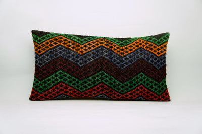 CLEARANCE 12x24 Vintage Hand Woven Kilim Pillow Lumbar 693 red black  orange green blue chevron checkered missoni style - kilimpillowstore  - 1