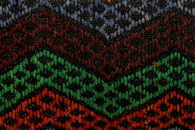 CLEARANCE 12x24 Vintage Hand Woven Kilim Pillow Lumbar 693 red black  orange green blue chevron checkered missoni style - kilimpillowstore  - 3