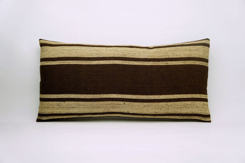 CLEARANCE 12x24 Vintage Hand Woven Kilim Pillow Lumbar 681 beige brown camel striped - kilimpillowstore  - 1