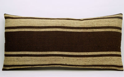 CLEARANCE 12x24 Vintage Hand Woven Kilim Pillow Lumbar 681 beige brown camel striped - kilimpillowstore  - 2