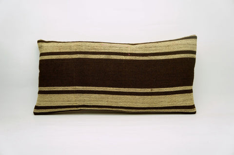 CLEARANCE 12x24 Vintage Hand Woven Kilim Pillow Lumbar 682 beige brown camel striped - kilimpillowstore  - 1