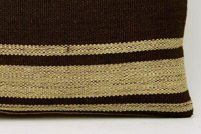 CLEARANCE 12x24 Vintage Hand Woven Kilim Pillow Lumbar 682 beige brown camel striped - kilimpillowstore  - 4