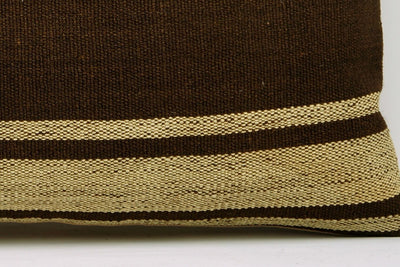 CLEARANCE 12x24 Vintage Hand Woven Kilim Pillow Lumbar 685 beige brown camel striped - kilimpillowstore  - 4