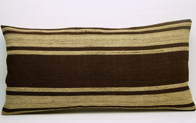 CLEARANCE 12x24 Vintage Hand Woven Kilim Pillow Lumbar 685 beige brown camel striped - kilimpillowstore  - 2