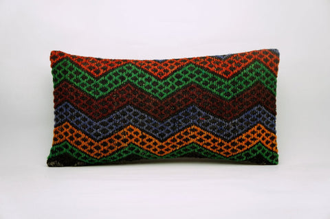 CLEARANCE 12x24 Vintage Hand Woven Kilim Pillow Lumbar 692 red black  orange green blue chevron missoni style - kilimpillowstore  - 1