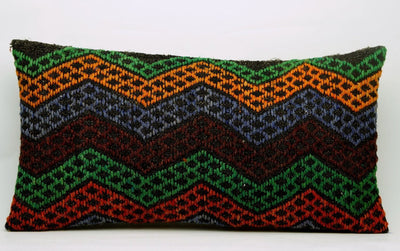 CLEARANCE 12x24 Vintage Hand Woven Kilim Pillow Lumbar 693 red black  orange green blue chevron checkered missoni style - kilimpillowstore  - 2