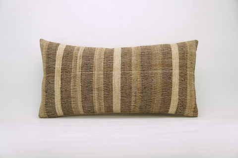CLEARANCE 12x24 Vintage Hand Woven Kilim Pillow Lumbar 737 beige brown ivory cream striped - kilimpillowstore  - 1