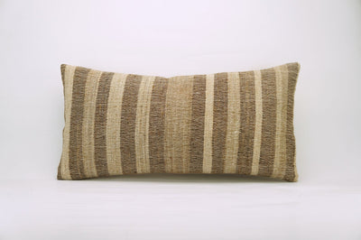 CLEARANCE 12x24 Vintage Hand Woven Kilim Pillow Lumbar 740 beige brown ivory cream striped - kilimpillowstore  - 1