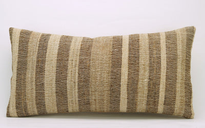 CLEARANCE 12x24 Vintage Hand Woven Kilim Pillow Lumbar 740 beige brown ivory cream striped - kilimpillowstore  - 2