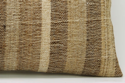 CLEARANCE 12x24 Vintage Hand Woven Kilim Pillow Lumbar 744 beige brown ivory cream striped - kilimpillowstore  - 4