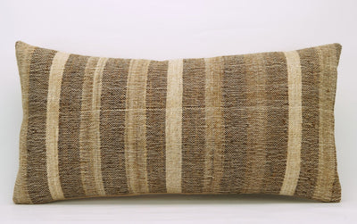 CLEARANCE 12x24 Vintage Hand Woven Kilim Pillow Lumbar 737 beige brown ivory cream striped - kilimpillowstore  - 2