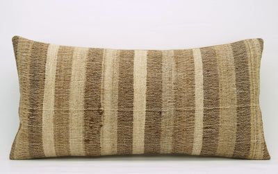 CLEARANCE 12x24 Vintage Hand Woven Kilim Pillow Lumbar 744 beige brown ivory cream striped - kilimpillowstore  - 2