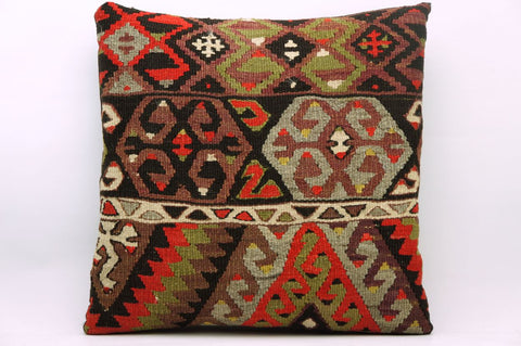 CLEARANCE 16x16 Vintage Hand Woven Kilim Pillow 864 tribal patterns red green black blue - kilimpillowstore  - 1