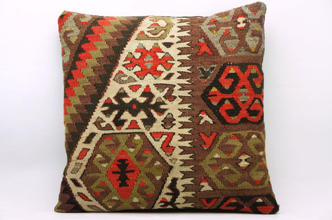 CLEARANCE 16x16 Vintage Hand Woven Kilim Pillow 862 tribal patterns red green black plum - kilimpillowstore  - 1