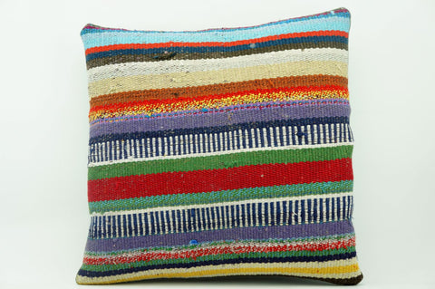 16x16 Vintage Hand Woven Kilim Pillow 880 multi colour striped banded red stripes euro sham red blue beige yellow - kilimpillowstore  - 1