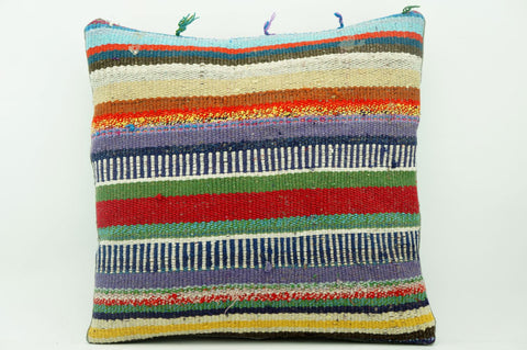 CLEARANCE 16x16 Vintage Hand Woven Kilim Pillow 886  colourful motley striped banded red stripes  red blue beige yellow - kilimpillowstore  - 1