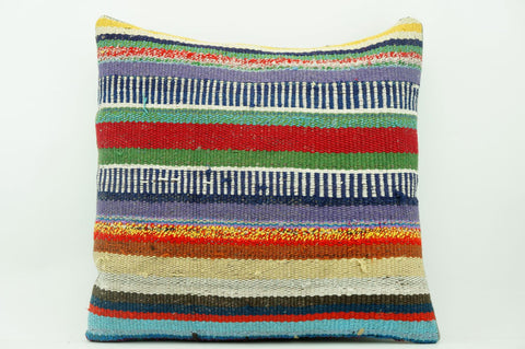 CLEARANCE 16x16 Vintage Hand Woven Kilim Pillow 887  colourful motley striped banded red stripes  red blue beige yellow - kilimpillowstore  - 1