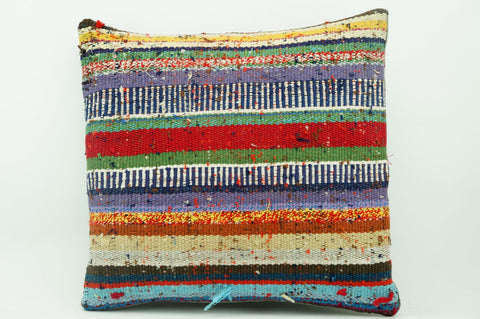 CLEARANCE 16x16 Vintage Hand Woven Kilim Pillow 879 multi colour striped banded red stripes euro sham red blue beige yellow - kilimpillowstore  - 1