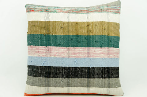 CLEARANCE 16x16 Vintage Hand Woven Kilim Pillow 904  white green red striped colourful splashy pillow - kilimpillowstore  - 1