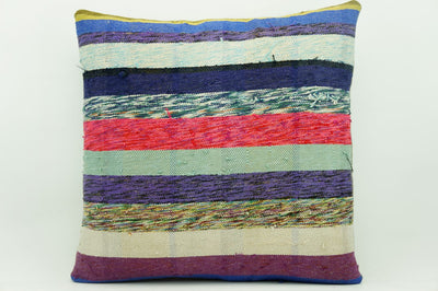 CLEARANCE 16x16 Vintage Hand Woven Kilim Pillow 906  white purple fuschia pink  striped colourful splashy pillow - kilimpillowstore  - 1