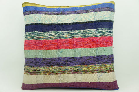 CLEARANCE 16x16 Vintage Hand Woven Kilim Pillow 909  white purple  fuschia pink  striped colourful splashy pillow - kilimpillowstore  - 1