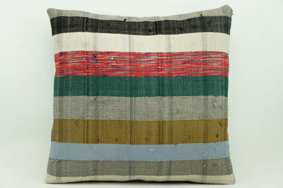CLEARANCE 16x16 Vintage Hand Woven Kilim Pillow 919  white green black   striped colourful splashy pillow - kilimpillowstore  - 1