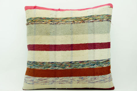 CLEARANCE 16x16 Vintage Hand Woven Kilim Pillow 891  white red fuschia pink gray striped banded red stripes  red blue beige yellow - kilimpillowstore  - 1