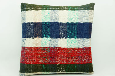 CLEARANCE 16x16 Vintage Hand Woven Kilim Pillow 934 paste plaid  sham cushion pillow cover - kilimpillowstore  - 1