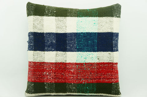 CLEARANCE 16x16 Vintage Hand Woven Kilim Pillow 935 paste plaid  sham cushion pillow cover - kilimpillowstore  - 1