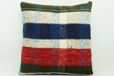 CLEARANCE 16x16 Vintage Hand Woven Kilim Pillow 937 paste plaid  sham cushion pillow cover - kilimpillowstore  - 1