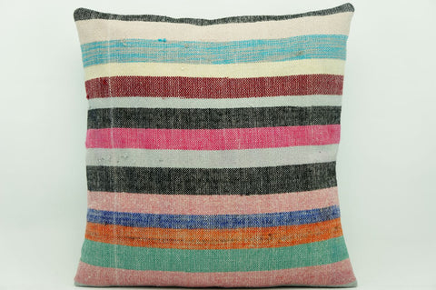CLEARANCE 16x16 Vintage Hand Woven Kilim Pillow 930 pastel   black red white pink  striped colourful splashy pillow - kilimpillowstore  - 1