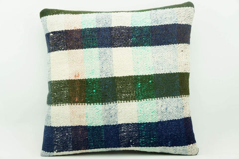 CLEARANCE 16x16 Vintage Hand Woven Kilim Pillow 940 pastel plaid  sham cushion pillow cover - kilimpillowstore  - 1
