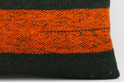 CLEARANCE 16x16 Vintage Hand Woven wool orange black striped Kilim Pillow 1003_A - kilimpillowstore  - 4