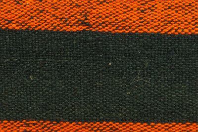 CLEARANCE 16x16 Vintage Hand Woven wool orange black striped Kilim Pillow 1003_A - kilimpillowstore  - 2