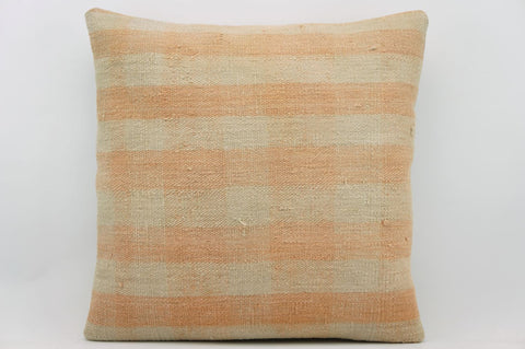 CLEARANCE 16x16 Vintage Hand Woven wool pinkish cream plaid striped Kilim Pillow 1004_A - kilimpillowstore  - 1