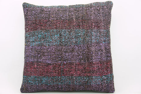 16x16 Vintage Hand Woven wool purple green red  gradient colour Kilim Pillow  cushion 1025_A Wool cushion - kilimpillowstore  - 1