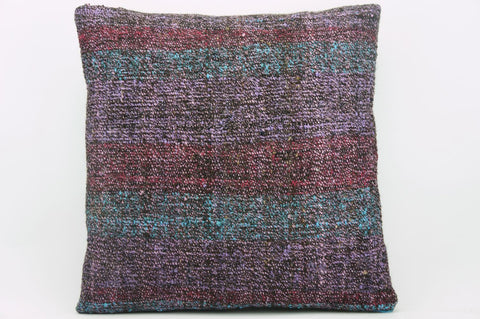 CLEARANCE 16x16 Vintage Hand Woven wool purple green red  gradient colour Kilim Pillow  cushion 1030_A Wool cushion - kilimpillowstore  - 1