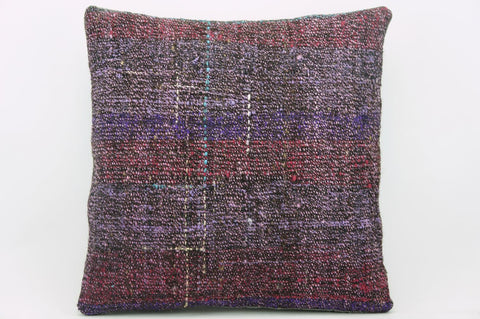 CLEARANCE 16x16 Vintage Hand Woven wool purple green red  gradient colour Kilim Pillow  cushion 1031_A Wool cushion - kilimpillowstore  - 1