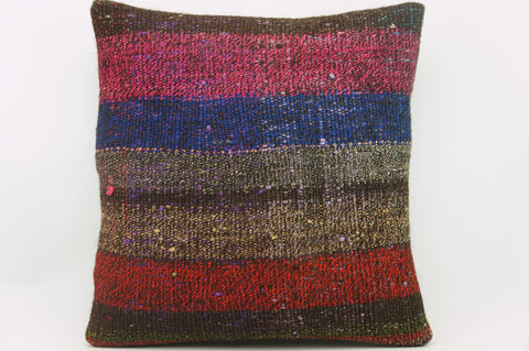 16x16 Vintage Hand Wovenfuschia purple red striped brown  old Kilim Pillow 1001_A - kilimpillowstore  - 1