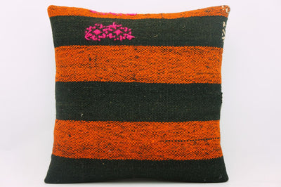 CLEARANCE 16x16 Vintage Hand Woven wool orange black striped Kilim Pillow 1003_A - kilimpillowstore  - 1
