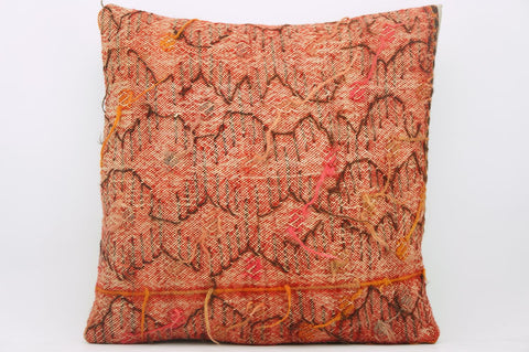 CLEARANCE 16x16  Hand Woven wool reddish pinkish  Kilim Pillow  cushion 1060_A - kilimpillowstore  - 1