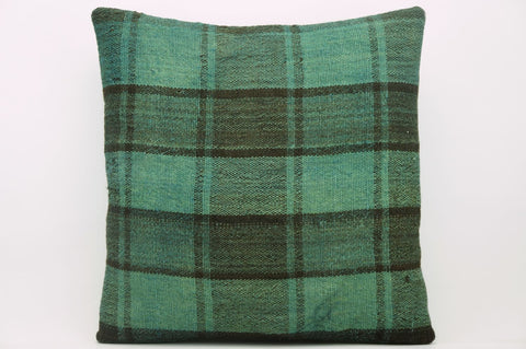 CLEARANCE 16x16  Hand Woven wool green black plaid  Kilim Pillow  cushion 1066_A - kilimpillowstore  - 1
