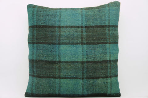 CLEARANCE 16x16  Hand Woven wool green black plaid  Kilim Pillow  cushion 1069_A - kilimpillowstore  - 1