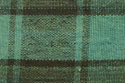 CLEARANCE 16x16  Hand Woven wool green black plaid  Kilim Pillow  cushion 1075_A Wool pillow cover - kilimpillowstore  - 2