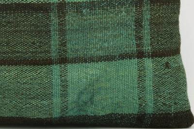 CLEARANCE 16x16  Hand Woven wool green black plaid  Kilim Pillow  cushion 1066_A - kilimpillowstore  - 4