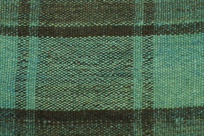 CLEARANCE 16x16  Hand Woven wool green black plaid  Kilim Pillow  cushion 1066_A - kilimpillowstore  - 2