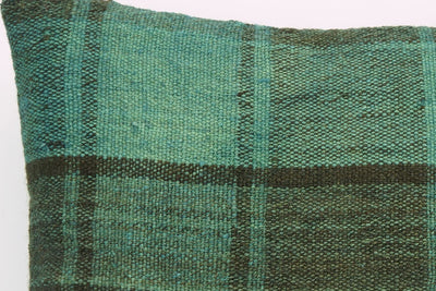 CLEARANCE 16x16  Hand Woven wool green black plaid  Kilim Pillow  cushion 1066_A - kilimpillowstore  - 3