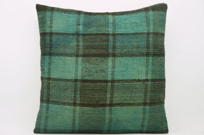 CLEARANCE 16x16  Hand Woven wool green black plaid  Kilim Pillow  cushion 1075_A Wool pillow cover - kilimpillowstore  - 1