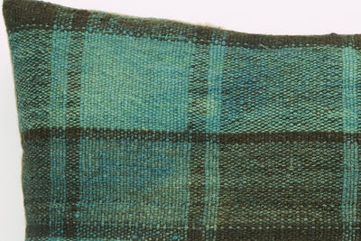 CLEARANCE 16x16  Hand Woven wool green black plaid  Kilim Pillow  cushion 1075_A Wool pillow cover - kilimpillowstore  - 3